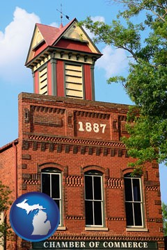 the Chamber of Commerce building in Madison, Georgia - with Michigan icon